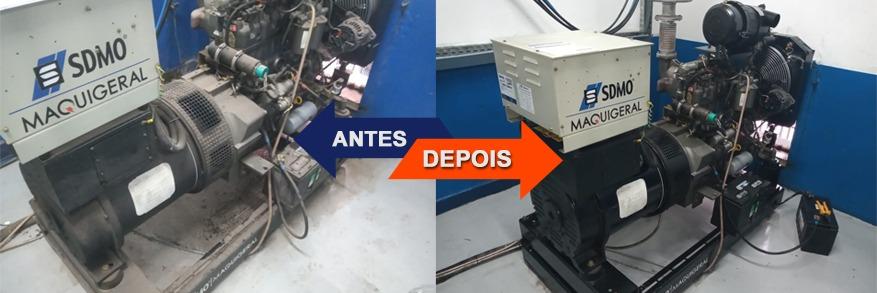 Antes e Depois do serviço de manutenção de geradores de energia