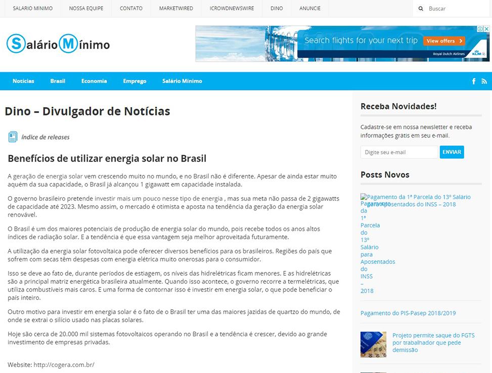 Cogera Energia | Benefícios de utilizar energia solar no Brasil