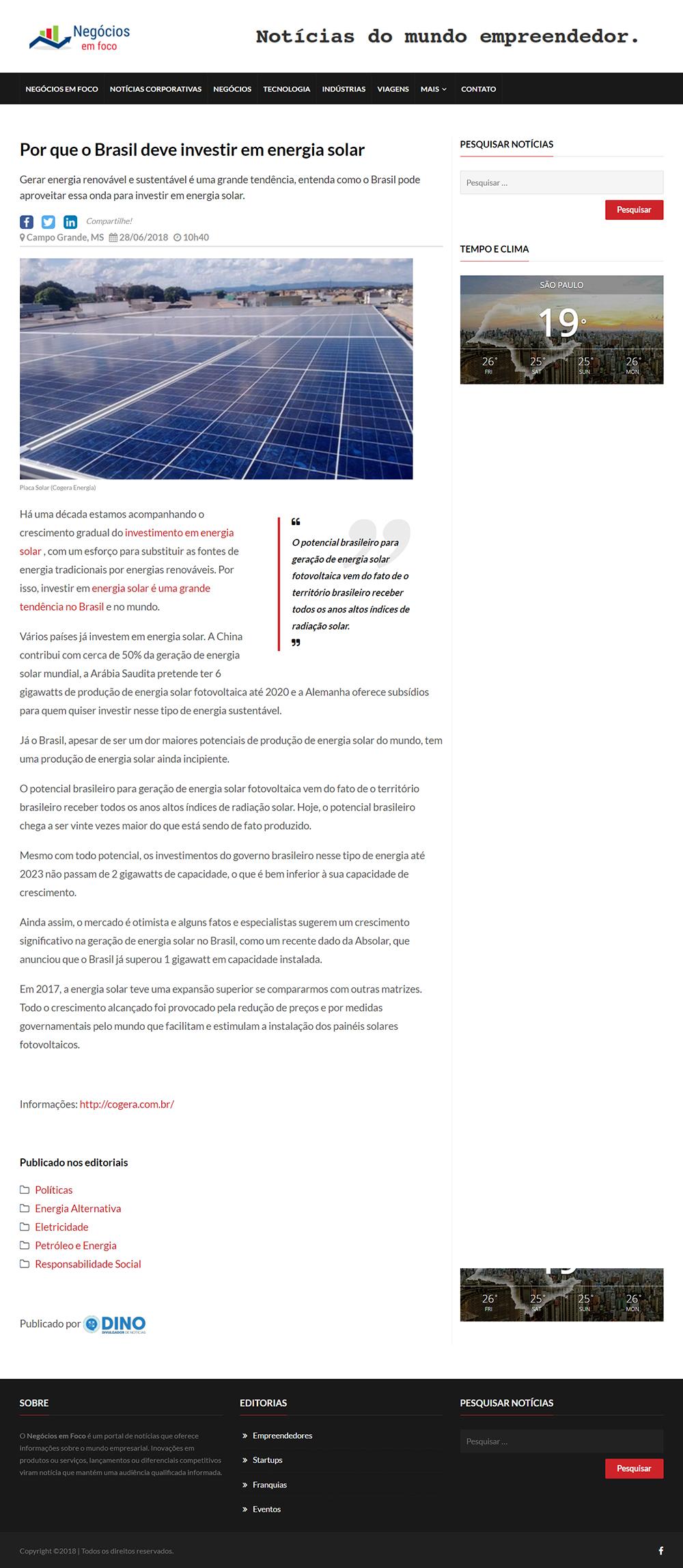O Brasil deve investir em energia solar