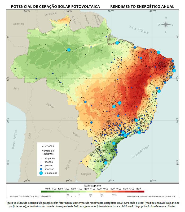 Potencial de geração solar fotovoltaica no Brasil