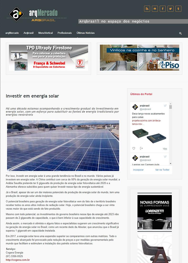 Releases da Cogera Energia | Por que o Brasil deve investir em energia solar
