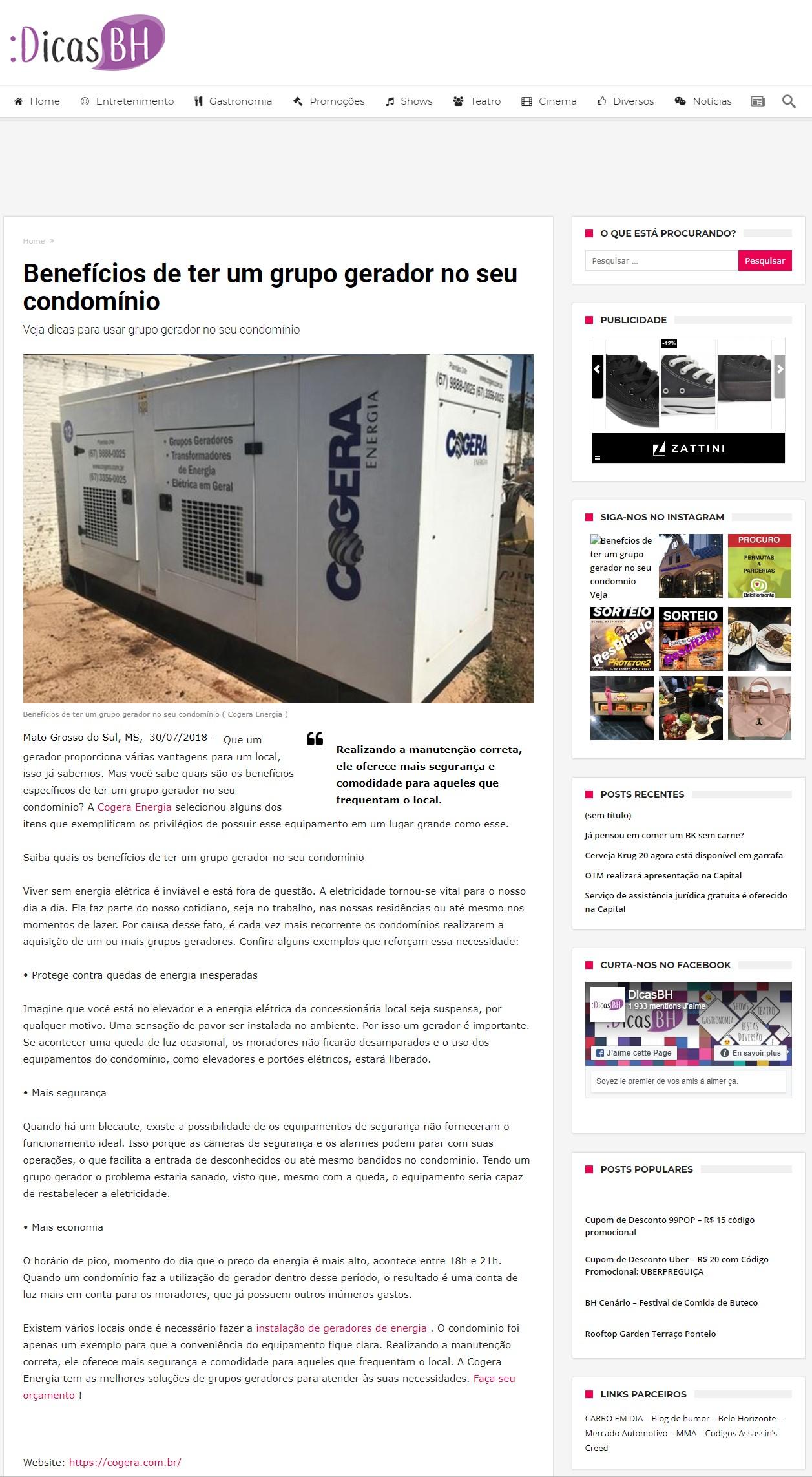 Notícias sobre a Cogera energia - Benefícios de ter um grupo gerador no seu condomínio